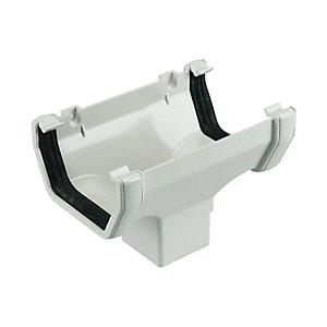 Image of FloPlast 114mm Half Square Line Gutter Running Outlet - White