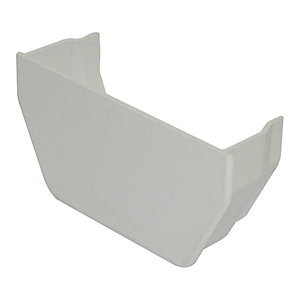 FloPlast 114mm Square Line Gutter Internal Stop End - White