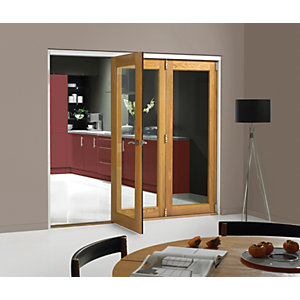 Wickes Belgrave Fully Glazed Oak 1 Lite Internal Bi-Fold 3 Door Set - 2074mm x 2390mm