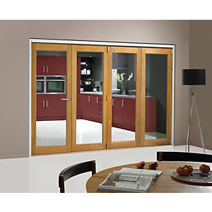 Wickes Belgrave Fully Glazed Oak 1 Lite Internal Bi-Fold 4 Door Set - 2074mm x 2990mm