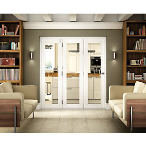 Wickes Belgrave White Fully Glazed Hardwood 1 Lite Internal Bi-Fold 3 Door Set - 2074mm x 2390mm