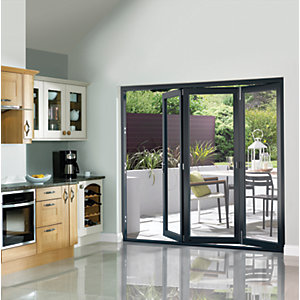 Wickes Burman Slimline Finished Bi-fold Door Set Grey
