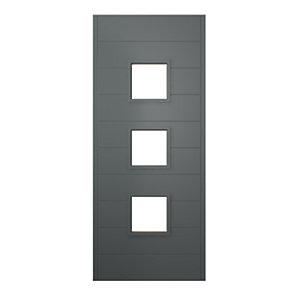 JCI Ultimate Malmo External Hardwood Glazed Door Grey with Handle 2032 x 813mm