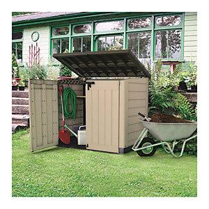 Keter Store It Out Max 1200L Outdoor Garden & Wheelie Bin Storage Shed - Beige / Brown