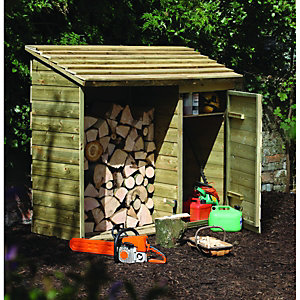Forest Garden 6 x 2ft Timber Log Store with Tool Storage
