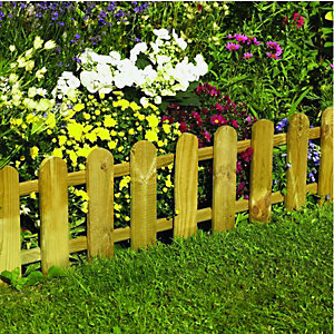 Forest Garden Timber Picket Fence Style Border Edging - 280 X 1100 Mm