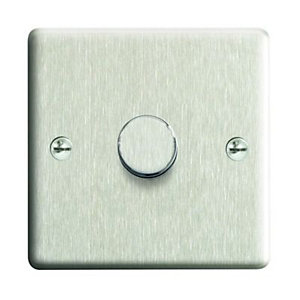 Wickes Dimmer Switch 1 Gang 2 Way 400W Brushed Steel Raised Plate