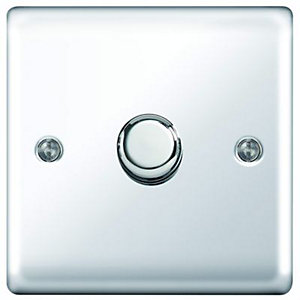 Wickes Dimmer Switch 1 Gang 2 Way 400W Polished Chrome Raised Plate