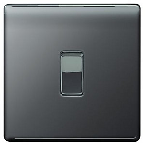 Wickes 10A Light Switch 1 Gang 2 Way Black Nickel Screwless Flat Plate