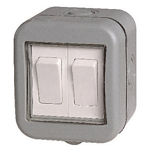 Masterplug IP55 10A Twin Exterior 2 Way Switch - Grey