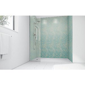 Mermaid Blue Reef Gloss Laminate 2 Sided Shower Panel Kit
