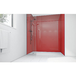 Mermaid Crimson Acrylic 2 Sided Shower Panel Kit 1700mm x 900mm