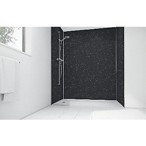 Mermaid Black Sparkle Gloss Laminate Single Shower Panel