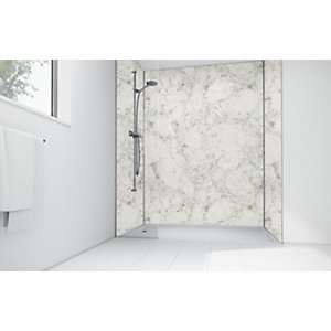 Mermaid White Calacatta Laminate Single Shower Panel