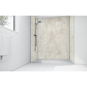 Mermaid Cream Calacatta Laminate 3 Sided Shower Panel Kit
