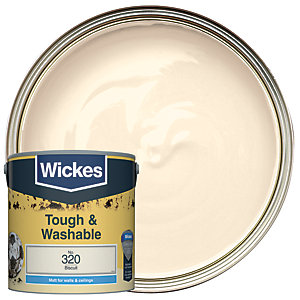Wickes Biscuit - No.320 Tough & Washable Matt Emulsion Paint - 2.5L