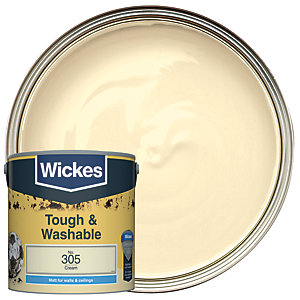 Wickes Cream - No.305 Tough & Washable Matt Emulsion Paint - 2.5L