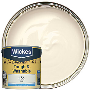 Wickes Ivory - No.400 Tough & Washable Matt Emulsion Paint - 2.5L