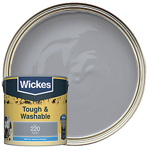 Wickes Pewter - No.220 Tough & Washable Matt Emulsion Paint - 2.5L