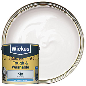 Wickes Powder Grey - No.140 Tough & Washable Matt Emulsion Paint - 2.5L