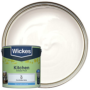 Wickes Pure Brilliant White - No.0 Kitchen Matt Emulsion Paint - 2.5L