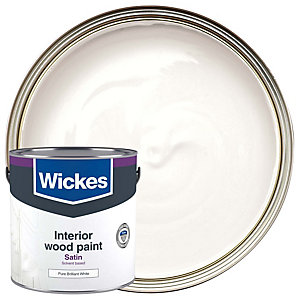 Wickes One Coat Satinwood Pure Brilliant White 2.5L