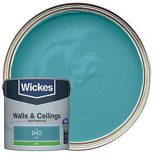 Wickes Teal - No.940 Vinyl Silk Emulsion Paint - 2.5L