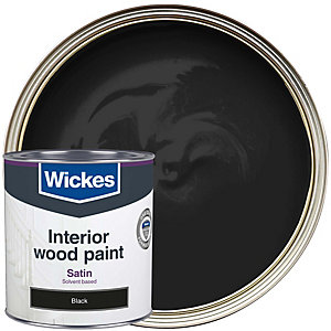 Wickes One Coat Satinwood Black 750ml