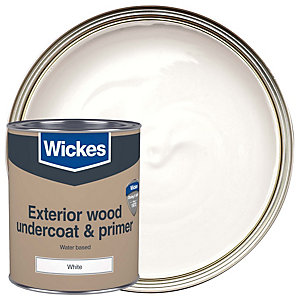 Wickes Exterior Primer & Undercoat Paint White 750ml