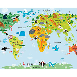 ohpopsi The Whole Wide World Map Wall Mural