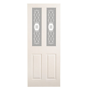 Wickes Stirling White Glazed Grained Moulded 4 Panel Internal Door - 1981mm x 762mm