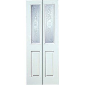 Wickes Stirling White Grained Glazed Moulded 4 Panel Internal Bi-fold Door