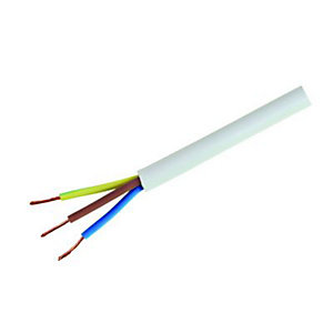 Wickes Heavy Duty 3 Core Flexible Cable - White 1.5mm2 x 5m