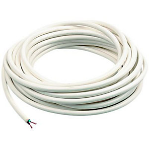 Wickes 2 Core Flexible Round Cable - White 0.75mm2 x 7.5m