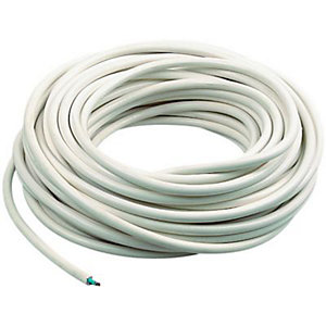 Wickes 2 Core Flexible Round Cable - White 0.75mm2 x 16.5m