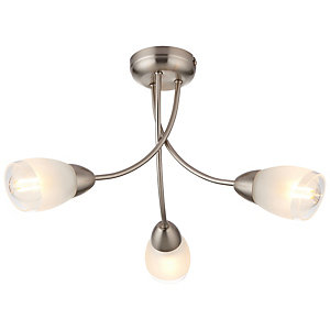 Wickes Monica Glass & Chrome Pendant Ceiling Light - E14