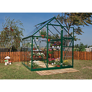 Palram 6 x 6ft Harmony Aluminium Apex Greenhouse with Clear Polycarbonate Panels