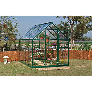 Palram 6 x 8ft Harmony Aluminium Apex Greenhouse with Clear Polycarbonate Panels