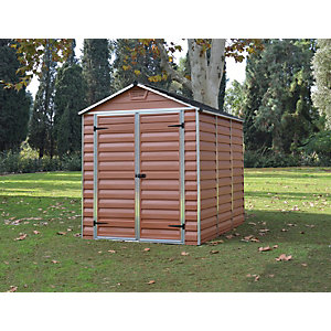 Palram 6 x 8ft Double Door Plastic Apex Shed with Skylight Roof