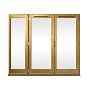 Image of Wickes Albery Pattern 10 Solid Oak Laminate French Doors 8ft with 1 Side Lite 600mm