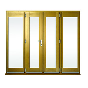 Image of Wickes Albery Pattern 10 Solid Oak Laminate French Doors 10ft with 2 Side Lites 600mm