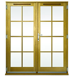 Image of Wickes Albery Georgian Bar Solid Oak Laminate French Doors 4ft