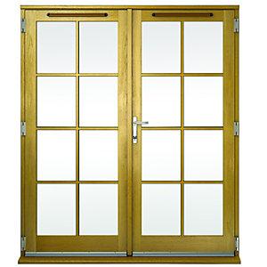 Image of Wickes Albery Georgian Bar Solid Oak Laminate French Doors 6ft