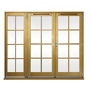 Image of Wickes Albery Georgian Bar Solid Oak Laminate French Doors 8ft with 1 Side Lite 600mm