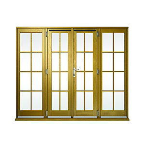 Image of Wickes Albery Georgian Bar Solid Oak Laminate French Doors 8ft with 2 Side Lites 600mm
