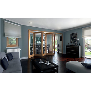 Wickes Ashton Internal Folding Door Oak Veneer Glazed 1 Lite 5 Door 2047 x 3158mm