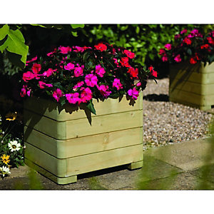 Wickes Marberry Square Timber Planter - 390 x 500 x 500mm