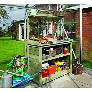 Rowlinson 3 x 2ft Timber Potting Table with Shelves