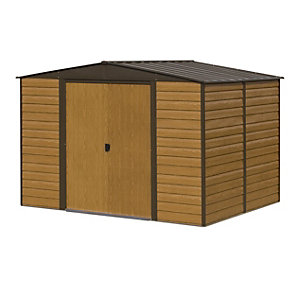 Rowlinson 10 x 12 ft Woodvale Large Double Door Metal Apex Shed without Floor
