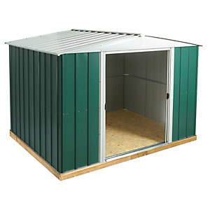 Rowlinson 10 x 8ft Double Door Metal Apex Shed including Floor